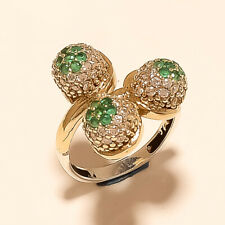 Silver Two Tone Solitaire Jewelry Gift Natural Zambian Emerald Ring 925 Sterling
