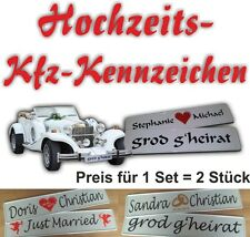 Set (2 Stück) Kfz Kennzeichen Hochzeit Hochzeitskennzeichen Autoschild heiraten