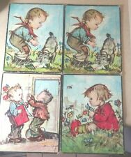 4 Lot Vintage Donald Art Co. Cardboard Puzzles