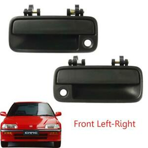 Fit 88-1991 Honda Civic Outer Exterior Door Handleblack Front Pair