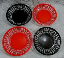 "Set Four Red Black Old 8"" Plastic Picnic Patio Food Round Baskets Bowls Free S/H"