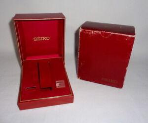 VTG Empty SEIKO Watch Box / Plastic Case Red Model EBL50 + outer cardboard box