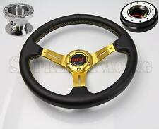 Gold Steering Wheel Combo Kit w/Black Quick Release For Honda Civic 1996-2000 EK
