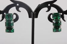 STERLING SILVER VINTAGE EMERALD GREEN STONES SCREW BACK EARRINGS 925 4150