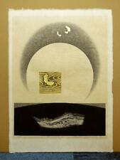 "REIKA IWAMI""MIZUKAGAMI A""ORIGINAL WOODBLOCK PRINT S/N JAPANESE Moon butterfly"