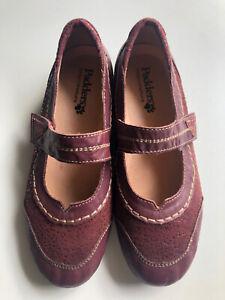PADDERS Burgundy Leather Women's Mary Jane Bramble Comfort Shoe Size 38 7.5