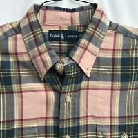 🌴Ralph Lauren Men's Long Sleeve Button Down Shirt XL Plaid🏇Free Shipping
