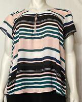 Torrid Women's Cap Sleeve Multi-Stripe Georgette Zip Front Blouse Plus Sz 2 (2X)