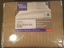 100% Cotton King Sheet Set, Beige Taupe, Wrinkle Free Nwt -