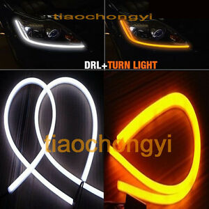 12V Car 60cm Yellow/White Dual Color Switchback DRL Daytime Running Light 1pcs