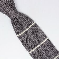 Paolo Albizzati Mens Silk Necktie Gray White Knit Stripe Square End Italy Chunky