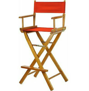 30in Directors Chair Honey Oak Frame-Red Canvas New