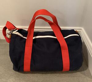 Hudson Sutler Logo'd Yorktown Commuter Canvas Banker Duffel Bag Navy/Red NEW