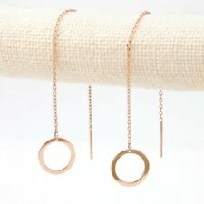 TPD 14K Solid Rose Gold Round Line Long Threader Drop Dangle a Pair of Earrings
