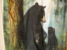 Black Bear Fabric Shower Curtain Northwoods Woods Cabin Lodge Decor Brand NEW