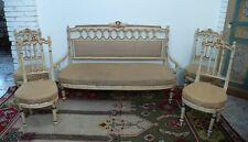 Salotto Napoleone III in lacca biana e oro seduta in iuta