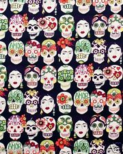 Fabric by the Yard Alexander Henry Gotas de Amor Day of the Dead Skull