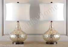 Contemporary SILVER Glass NEIMAN MARCUS Table Lamp PAIR Set Horchow Vizzini