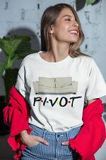Womens FASHION T-Shirt ORGANIC PIVOT Summer Friends Couch 90`s Comedy Retro Top