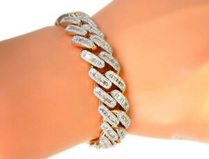 Men's 4Ct Cuban Link Baguette Diamond Bracelet 14K Yellow Gold Plated 925 Silver