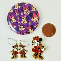 VINTAGE 1990's Disney MINNIE MOUSE Enamel Gold Tone earrings pin button SET