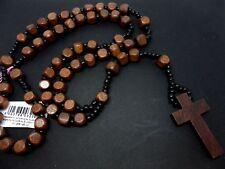 Un hombre o señoras de largo Collar Cruz Crucifijo Rosario de madera marrón. Nueva
