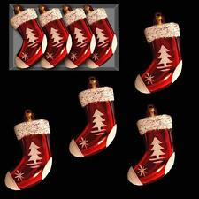 Christmas 4 Pack Red & White Mini Hanging Tree Decorations - Stockings
