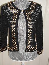 ESCAPADE...women's Small black/wooden bead sweater, unique!