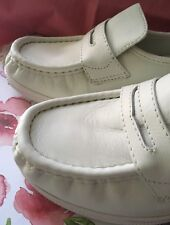 Nurse Mates 8 M White Pennies Leather Loafer Wedge Penny Uniform New Comfort