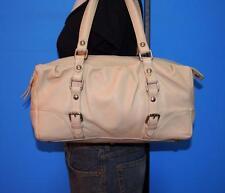 VALENTINA Pale Beige Leather Shopper Baguette E/W Tote Purse Shoulder Bag ITALY
