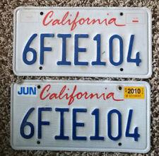 California License Plate Pair - Lipstick Letter Design - #6FIE104 - JUN 2010 REG