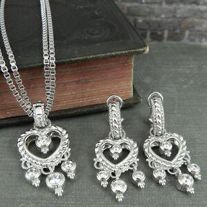 Judith Ripka Sterling Diamonique Heart Earrings or Heart Enhancer w Box Chain