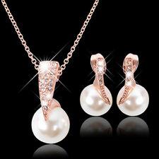 Boda Oro Rosa Cristal Perlas Falsas Colgante Collar Pendientes Joyería Conjunto