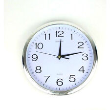 Silent Round Wall Mountable Quartz Analogue Clock - Silver-30cm