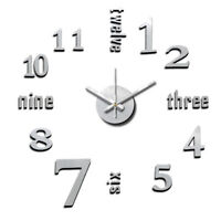 NEW! DIY SELF ADHESIVE WALL CLOCK DO IT YOURSELF 3D INTERIOR TIME CLOCK-METALLIC