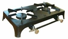 CAMPING FISHING OUTDOOR DOUBLE BURNER CAST IRON TWIN BOILING RING STOVE LPG GAS