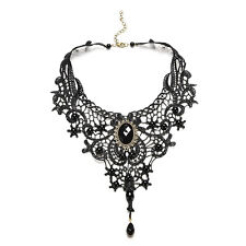 Steampunk Black Lace & Perle Choker Style victorien Collier gothique neuf Ff