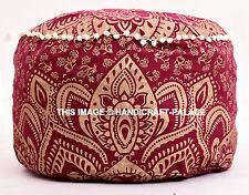 Indien Pouf Ottoman Pouffe Poof Round Maroon Footstool Ombre Mandala Print Decor