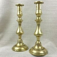Vintage Pair of Brass Candlesticks Tall Heavy Candle Holders Victorian Style
