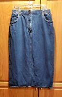 LL Bean Women's Denim Jean Elastic Waist Midi Pencil Skirt Size 16