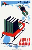 "1938-41 January-A Year of Good Reading Ahead Poster Art Print 11"" x 17"" Reprint"
