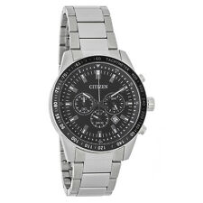 Citizen Quartz Mens Black Dial Stainless Steel Chronograph Watch AN8071-51E