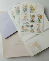 Vtg Hallmark Precious Moments Stationery Box 11 Decorated Sheets 13 Env Stickers