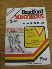 09/01/1982 Rugby League Programme: Bradford Northern v Barrow