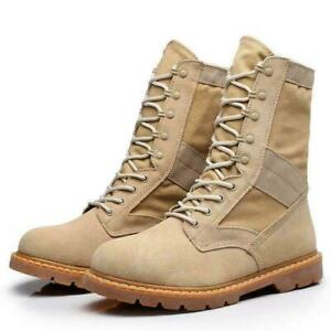 Men's Army Military Tactical Combat Leather Boot Outdoor Hiking Desert Shoe Sz D