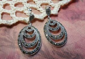 My S Collection 925 Sterling Silver & Marcasite Drop Earrings