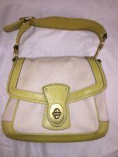 Coach Legacy Natural / Citron Canvas Slim Flap Handbag 10828