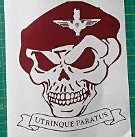 Skull Parachute Regiment Cap Badge Sticker Decal Car Motorcycle Paras