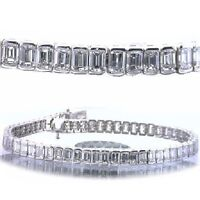 14.51 carat Emerald Cut Diamond Tennis Bracelet 14k white Gold 44 x .33 ct. H VS