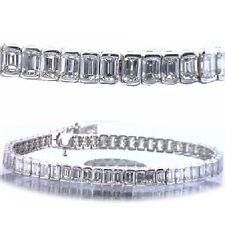 14.51 carat Emerald Cut DIAMOND Tennis Bracelet 14k white Gold 44 x .33 ct. H VS